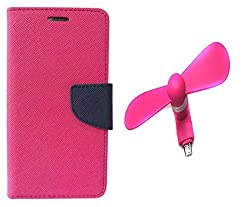 Novo Style Book Style Folio Wallet Case Micromax Canvas Selfie Lens Q345 Pink + Smallest Mobile Fan Android Smart Phone