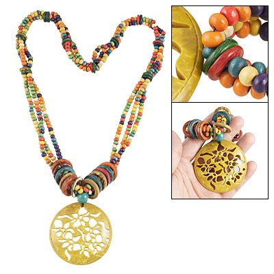 Rosallini Colorful Asian Tibet Style Hollow Out Flower Pendant Necklace