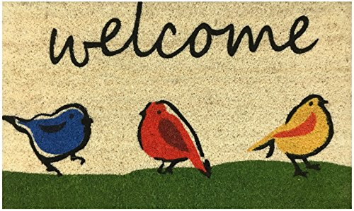 """Welcome"" Doormat by Castle Mats, Size 17 x 29 inches, Non-Slip, Durable, Made Using Odor-Free Natural Fibers"