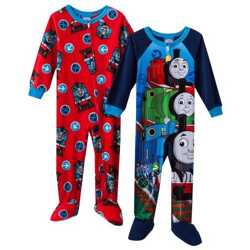 Boys Navy/Red Thomas & Friends 2-pk. Fleece Footed Pajamas (4T)