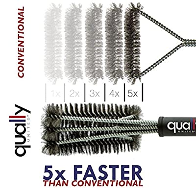 "Qually United® - a Must Have 18"" BBQ Grill Brush 3 in 1, Durable and Effective, Barbecue Grill Brush Bristles are Made of Stainless Steel Woven Wire, Handy and Portable - a Perfect Gift for All Barbecue Lovers"