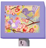 "Oopsy Daisy Cherry Blossom Birdies Night Light, Lavender and Coral, 5"" x 4"""