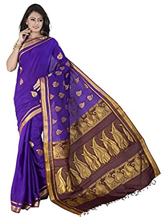 Ishin Cotton Blue Rich Pallu Saree available at Amazon for Rs.3749