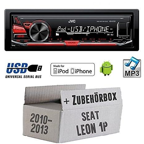 SEAT LEON 1P FL-JVC KD X230E-Kit de montage autoradio USB Lecteur MP3-