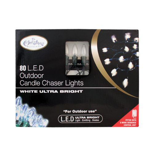 Benross The Christmas Workshop Outdoor Use Only Christmas Lights 80 Ultra Bright LED Candle Chaser Lights - White
