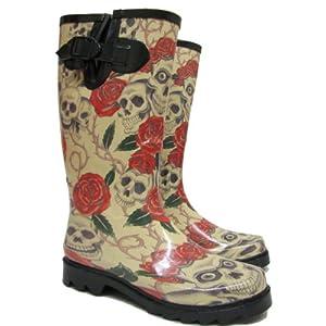 Skull Roses Calf Wellies Wellington Rain Festival Welly Boots
