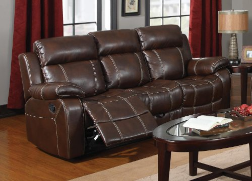 Coaster Myleene Leather Motion Sofa In Brown front-911888