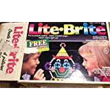 Classic 1990 Lite Brite Large Retangular Unit with Pegs and Drawing Sheets