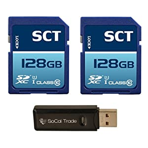SCT 128GB x2 = 256GB SD XC Class 10 UHS-1 Secure Digital Ultimate Extreme Speed SDXC Flash Memory Card 256G 256 GB GIGS (S.F128.RTx2.550) with SoCal Trade SCT Dual Slot Memory Card Reader - Retail Packaging 2 PACK