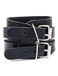 GoldNera Leather Cool Look Buckled Dark Black Bracelet For Men By GoldNera