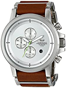 Vestal Men's PLE034 Stainless Steel Watch with Leather Band
