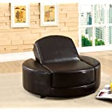 Bicast Leather Dark Espresso Convertible Ottoman Chair