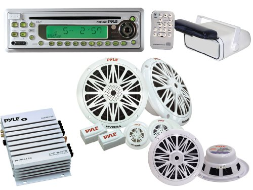 Pyle Complete Mega Weatherproof Sound Audio System for the Boat, Marine, Deck - AM/FM-MPX In-Dash Marine CD/MP3 Player + 240W Amplifier + 200W 6.5