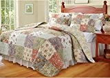 Country Floral Bedding Quilt Bedspread Set Queen