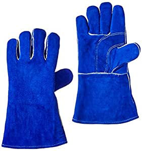 US Forge 400 Welding Gloves Lined Leather, Blue