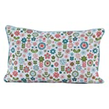 Homescapes - 100% Cotton - Retro Flower - Filled Cushion - 30 x 50 cm Rectangular - 12 x 20 Inches - Green White Pink - 100% Cotton - Cover Well Filled Pad - Washableby Homescapes