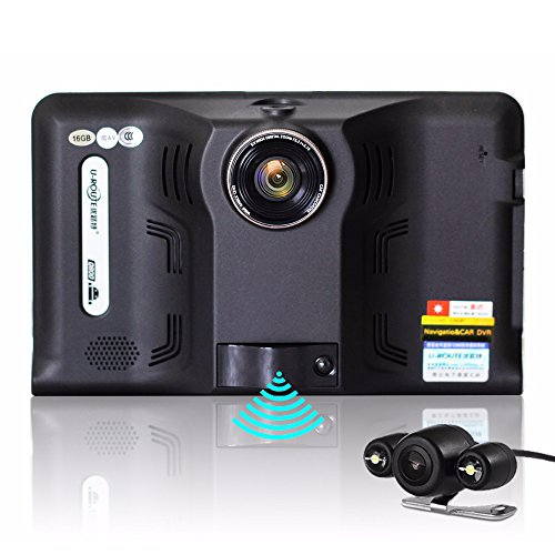 junsun 7 inch Car DVR GPS Navigation Android 1080P DVR 16GB vehicle gps navigator with Rear view camera