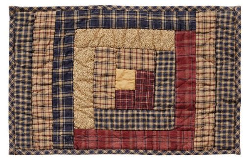 """Millsboro 12X18"""" Quilted Log Cabin Block Placemats, Set Of 2 front-618520"""