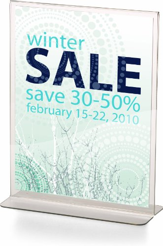 Officemate Upright Vertical Sign Holder, 8.5 x 11 Inches, Clear, 1 Holder (23005)