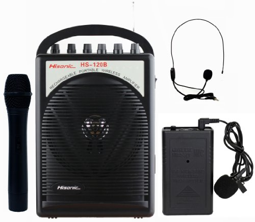 Hisonic HS120B Lithium Battery Rechargeable & Portable PA (Public Address) System with Built-in VHF Wireless Microphone, Car Cigarette Lighter Cable, Carrying Bag ,1 Hand Held +1 Body Pack (Portable Pa Sound System compare prices)