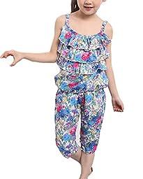 Hot Children\'s Baby Girls Summer Clothes Floral Vest + Pants Sets Outfits 2pcs