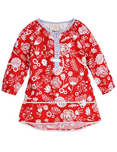 Hatley Little Girls' Pom Pom Tunics Field Flowers, Red, 4T
