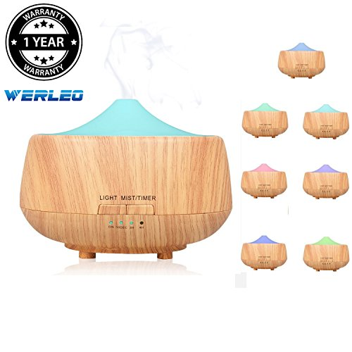 Aromatherapy Essential Oil Diffuser,Werleo 250ml Wood Grain Ultrasonic Cool Mist Whisper Quiet Aroma Air Humidifier 7 Color LED Light Changing 4 Timer Setting Waterless Auto Shut-Off for Spa Baby Home