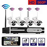 [Auto-Pairing]Smonet 4CH 960P(1280X960) HD Wireless Video Security Camera System(NVR Kits),4PCS 1.3 Megapixel Wireless Weatherproof Bullet IP Cameras,Plug and Play,65FT Night Vision, No Hard Drive