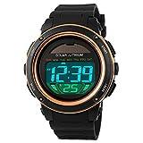 Gosasa Men's Solar Energy Digital Watch Men Multifunction Alarm Calendar Stopwatch Sports Waterproof Wristwatches Gold