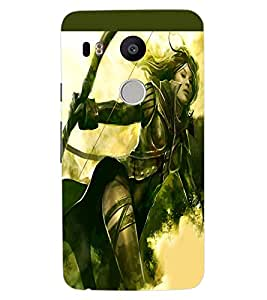 ColourCraft The Warrior Girl Design Back Case Cover for LG GOOGLE NEXUS 5X