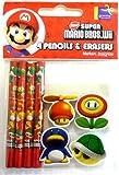 Super Mario Brothers 4 Mini Pencils & 4 mini Erasers