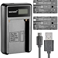 Neewer 90086570 Micro USB Battery Charger + 2-Pack 2600mAh NP-F550/570/530 Replacement Batteries For Sony HandyCams...