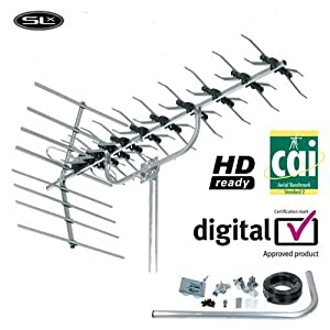 SLX Silver 48 Element High Gain TV Aerial Kit, HD Readyreview and more information