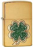 Zippo Pocket Lighter Brushed Brass Shamrock Emblem Pocket Lighter