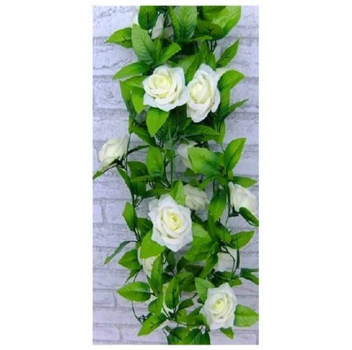 1 X Artificial Rose Silk Flower Green Leaf Vine Garland Home Wall Party Decor Wedding Decal (Beiges) by Lemonc