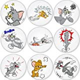 TOM AND JERRY round badges 1.75 can be choose backside is pinback, mirror, magnet or bottle opener keychain