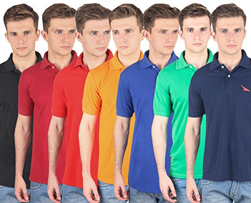 PRO Lapes Multicolor Solid Polo T-Shirt Set of 7