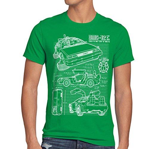 style3 DMC-12 Cianografia T-shirt da uomo ritorno futuro, Dimensione:M;Colore:verde