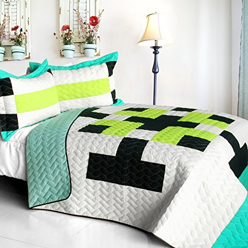 [Tetris - C] Vermicelli-Quilted Patchwork Geometric Quilt Set Full/Queen front-910334