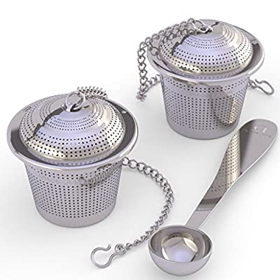 Loose Leaf Tea Infuser (Set of 2) + Tea Scoop - Ultra Fine Stainless Steel Strainer and Steeper for Mugs/Cups