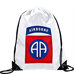 Large Drawstring Bag with US Army 82nd Airborne Division, Shldr Sleeve - Long lasting vibrant image