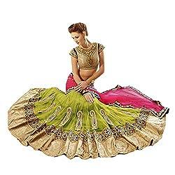 Green Designer Net With Embroidered lehenga Saree