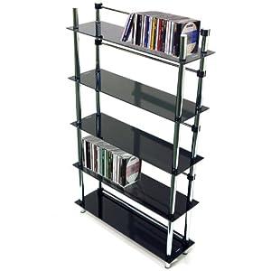 MAXWELL - 5 Tier DVD / Blu-ray / CD / Media Storage Shelves - Black