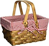 Search : Vintique Wood Rectangular Basket Lined with Gingham Lining, Small