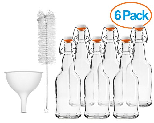 Chef's Star CASE OF 6 - 16 oz. EASY CAP Beer Bottles with Funnel and Cleaning Brush - CLEAR (Chef Bottles With Caps compare prices)