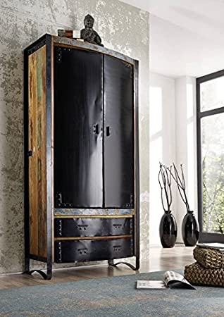 Maciza muebles Industrial-Stil armario madera hierro lacado madera maciza Industrial #07