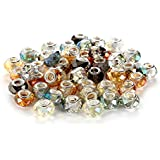 BRCbeads Top Quality 50Pcs Mix Silver Plate FACETED STYLE3 AB COLOR Murano Lampwork European Glass Crystal Charms Beads Spacers Fit Pandora Troll Chamilia Carlo Biagi Zable Snake Chain Charm Bracelets.