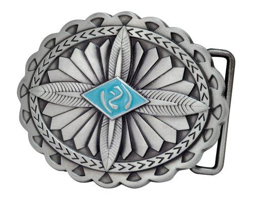 Buckle Rage Womens Western Native American Feather Metal Belt Buckle Silver