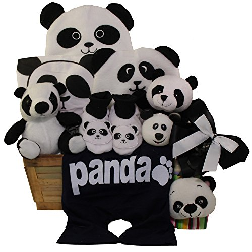 Art of Appreciation Gift Baskets Panda Mania Baby Bear Neutral Boy or Girl Gift Basket, Black/White