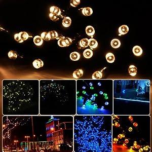 Lycheers®Solar Christmas String Light 11m 60 LED Wedding Party Xmas Garden Fairy Lights Waterproof (Warm White)